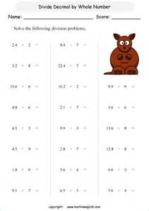 divide these decimal by whole numbers grade 4 math decimal