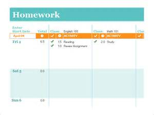 Student Schedule Template by Homework Schedule Template 8 Free Word Excel Pdf
