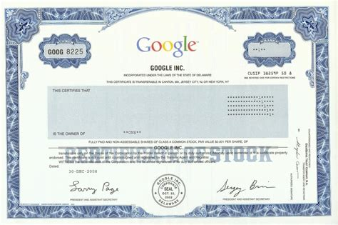 google images share google stock certificate