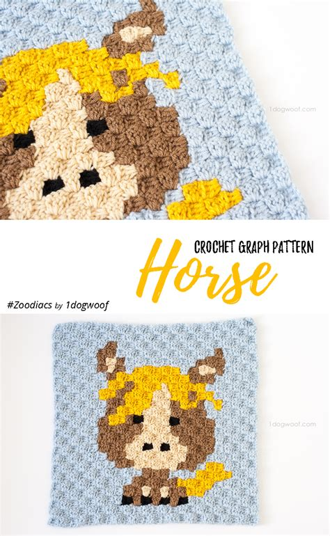 pattern usage en francais zoodiacs horse c2c crochet graph by one dog woof crochet