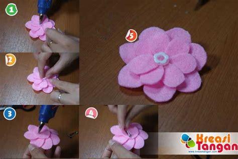 tutorial  membuat bunga kancing  kain flanel diy