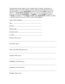 Questionnaire Design Template by Best Photos Of Questionnaire Template Word Survey