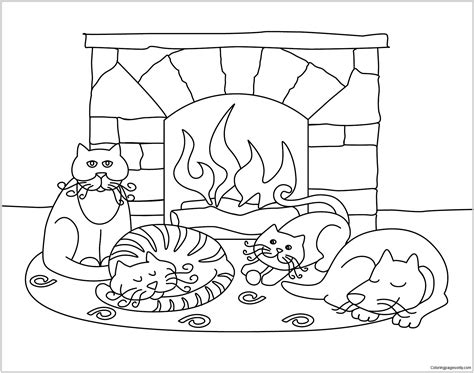 winter coloring page winter with animals coloring page free