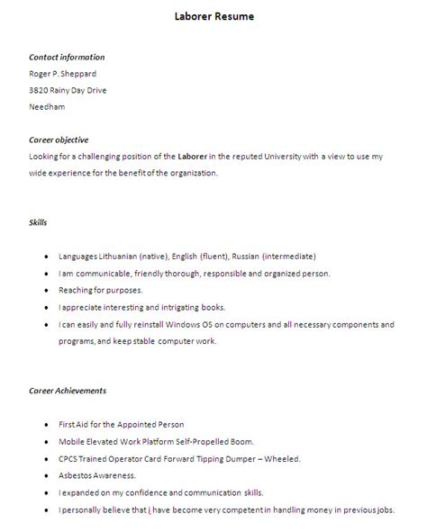 Laborer Resume Exle by Construction Laborer Resume Template