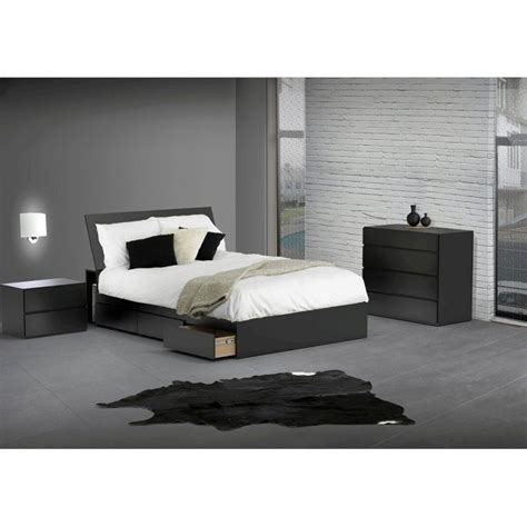 cymax bedroom furniture reversible storage 3 piece bedroom set in black 22xx06 3pkg