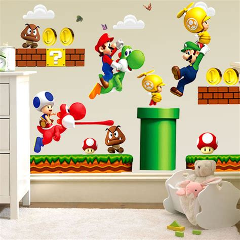 removable mario bros child baby bedroom kitchen home
