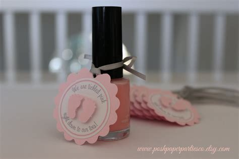 Nail Favors Baby Shower by Baby Shower Favor Tags For Nail Gray And Pink