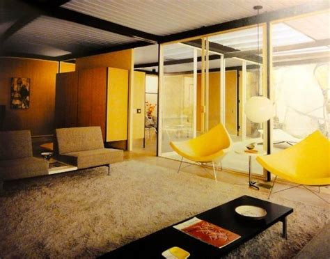 mid century modern interior yellow
