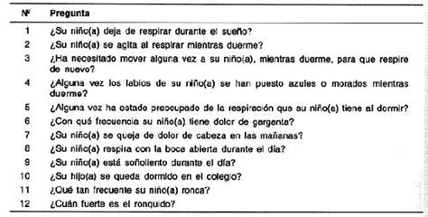 preguntas generales para un cuestionario relaci 243 n entre el s 237 ndrome de apnea obstructiva del sue 241 o