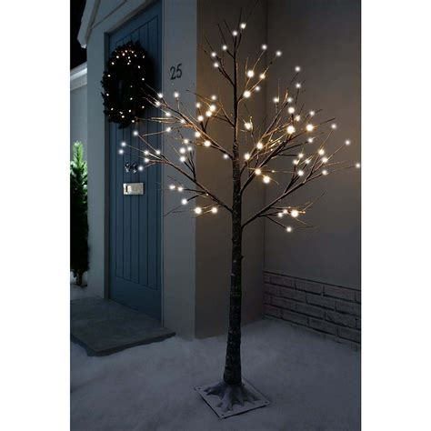 Outdoor Twig Lights 7ft Snowy Effect Cool White Twig Tree Pre Lit 120 Led Lights Indoor Outdoor Ebay