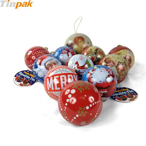 wholesale bulk christmas ball shaped tin box for sale