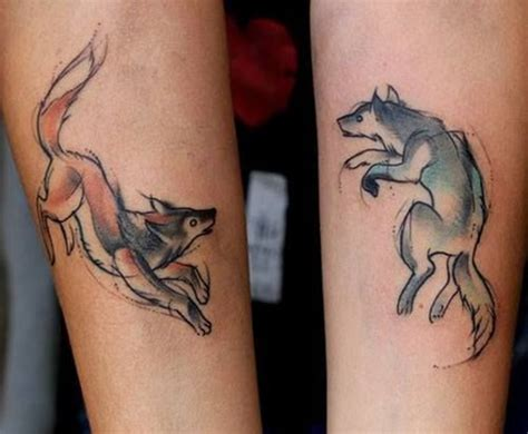 two wolves tattoo 100 imaginative sets for couples and individuals