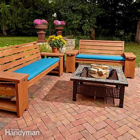 patio combo wooden bench plans with built in end