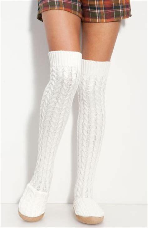 white cable knit knee high socks make model cable knit the knee slipper socks in