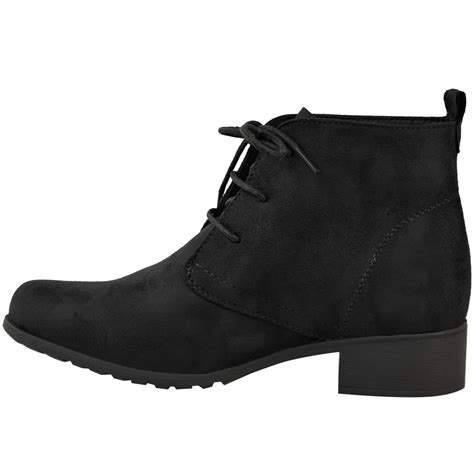 womens flat low heel black ankle boots work office