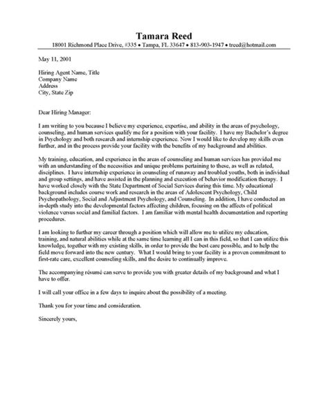 cover letter for counseling position application letter sle cover letter sle for