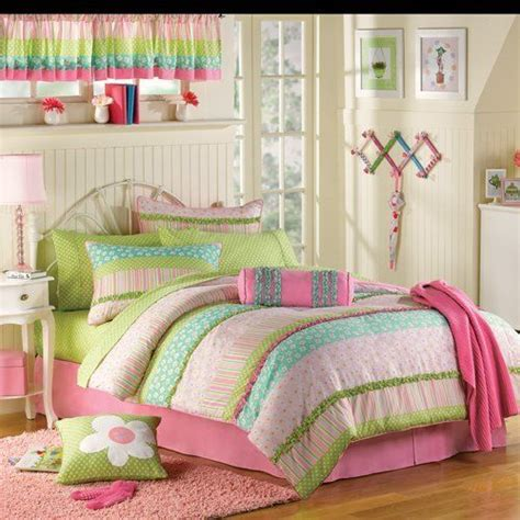 pink green ruffled girls twin complete comforter set  piece bed   bag amazoncom home