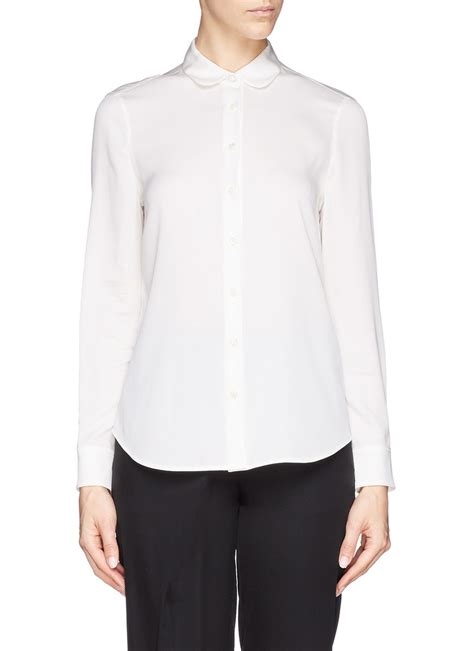 Womens Black Blouse With White Collar by Womens Black Blouse With White Collar Blouse With