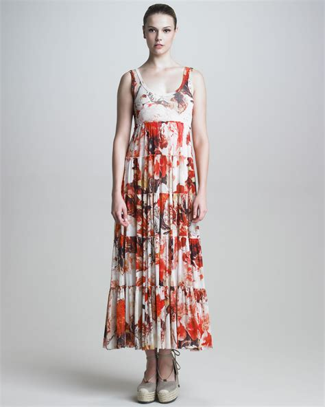 jean paul gaultier womens tiered floral maxi dress in
