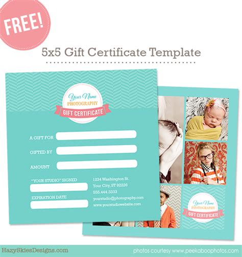 gift certificate photoshop template free gift card template for photographers photoshop www