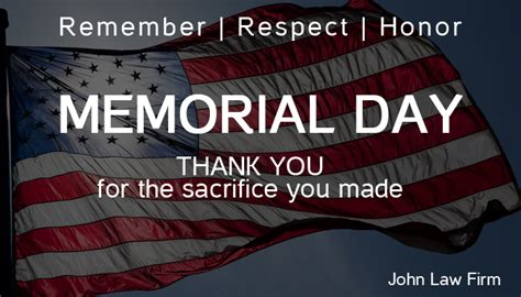 Memorial Day   We will be closed   Personal injury Lawyer