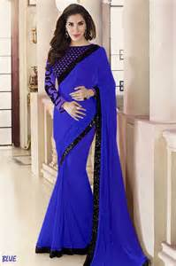 Vases And Artificial Flowers Buy Blue Plain Georgette Designer Saree With Blouse Online
