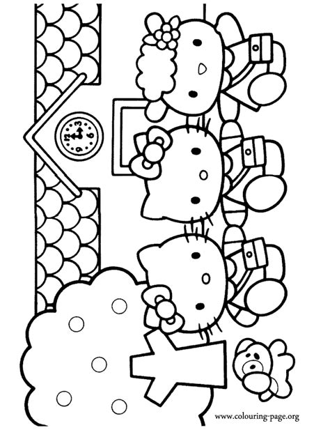 hello kitty at school coloring pages hello kitty hello kitty mimmy and fifi going to school