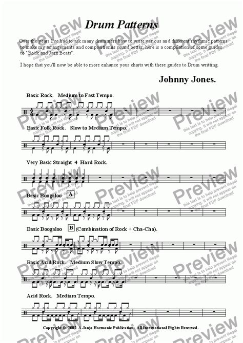 drum pattern dance drum patterns quot rock and jazz quot for arrangers and composers