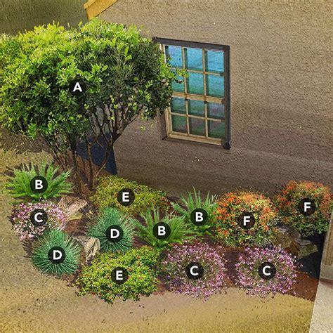 shade garden plan  southwest desert region featuring