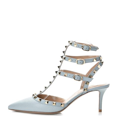 Kaos Valentino Shoes Bw valentino pebbled calfskin rockstud ankle pumps 38 sky 241815