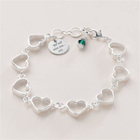 chain bracelet with birthstone and engraving