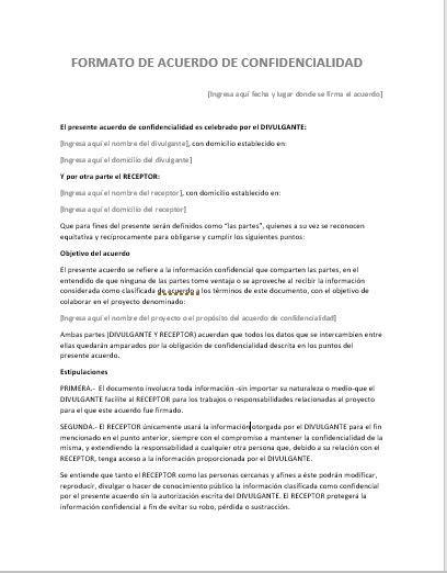 formato de carta de responsabilidad y confidencialidad acuerdo de confidencialidad gt ejemplos y formatos
