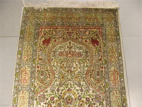af hereke silk prayer antique rug 19th century