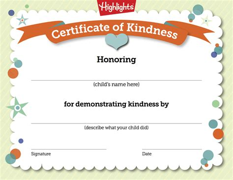 printable free certificates free printable certificate to recognize kindness