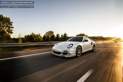vinyl porsche porsche 997 turbo s vinyl wrap in satin pearl white