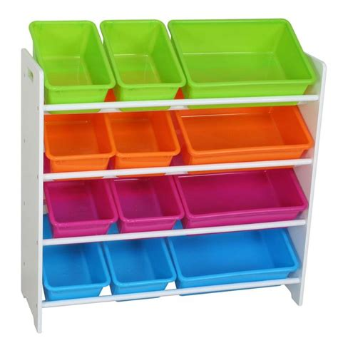 toy storage bookcase with tubs childrens 4 tier storage shelf with 12 tubs