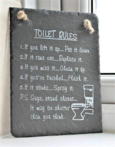 bathroom rules plaque the toilet rules a must have for any bathroom dominated