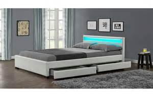 lit design blanc italien 140 cm avec 4 tiroirs et