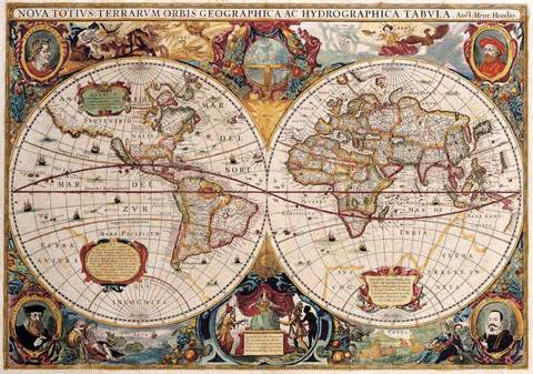 antique maps of the worlddouble hemisphere maphenricus