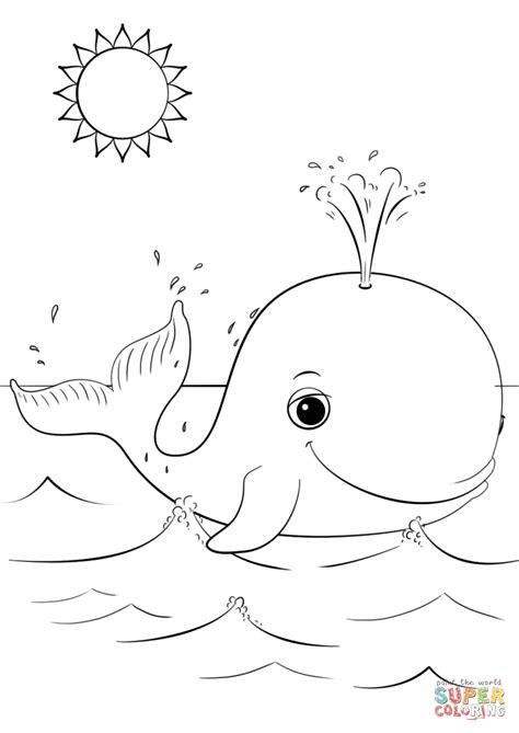 Coloring Pages Of Cute Whales | cute cartoon whale coloring page free printable coloring