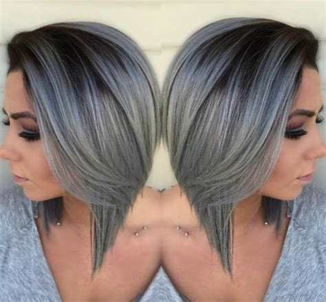 blue gray burr cut hair beautiful silver ombre hairstyles for short hair ombre