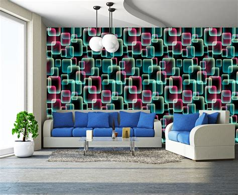 wallpaper wall art uk abstract colours 3d squares art wall mural decor photo
