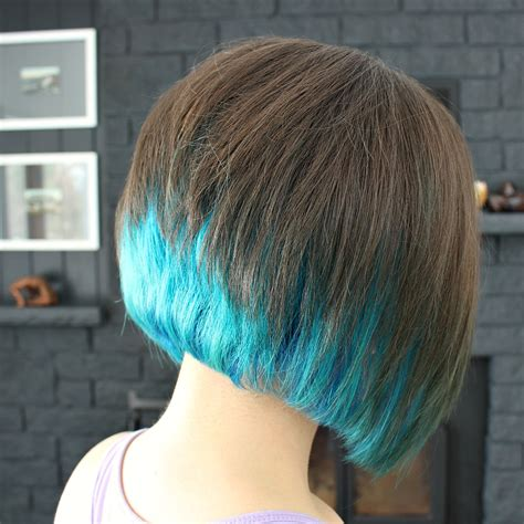 Dyed Bobs | two years of turquoise dip dyed hair rainbow hair faq
