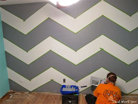 designer paint geometric triangle wall paint design idea with tape diy