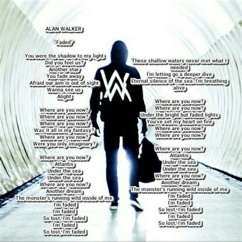 alan walker routine lyrics alan walker faded lyric lyrics song pinterest alan