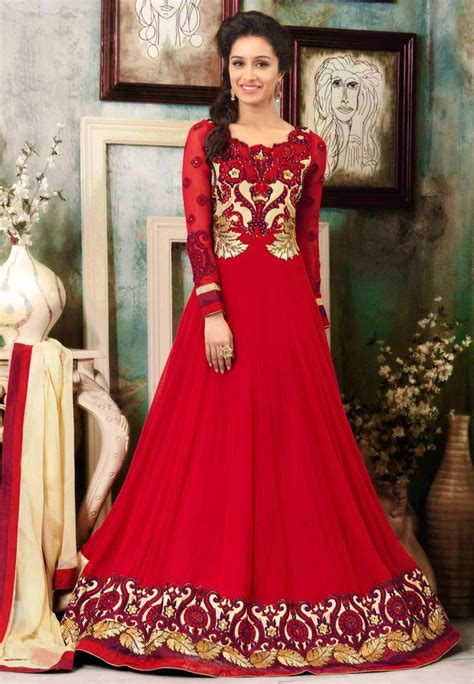 red color stylish suits anarkali umbrella frocks designs
