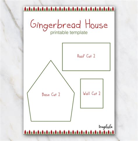 gingerbread house template printable a4 gingerbread house template with christmastrees in red and