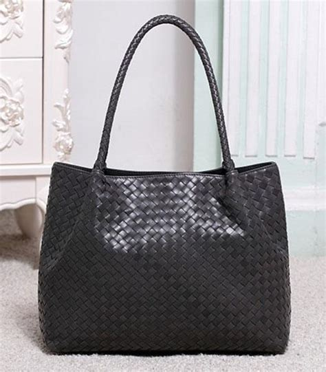 Handbag Bottega Veneta Black Mirror Quality Original Grade Termu Bottega Veneta Woven Lambskin Leather Tote Handbag Black