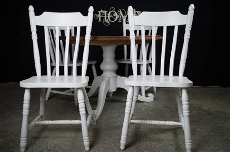 farmhouse pedestal table and chairs pedestal pine table 4 farmhouse chairs painted