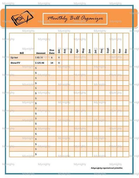 bill organizer monthly bill organizer tracker printable pdf